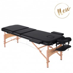 3-section Massage Table with Wooden Legs